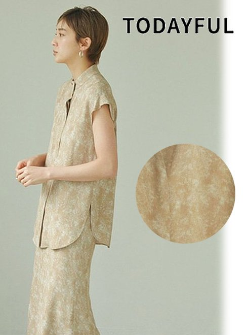 TODAYFUL (トゥデイフル)<br>Standcollar Marble Shirts  21春夏.予約【12110434】シャツ・ブラウス 入荷予定 : 6月中旬〜