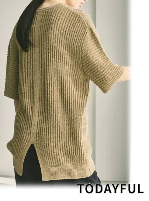 TODAYFUL (トゥデイフル)<br>Halfsleeve Linen Knit  2021春夏.予約【12110527】ニットトップス 入荷予定 : 6月中旬〜