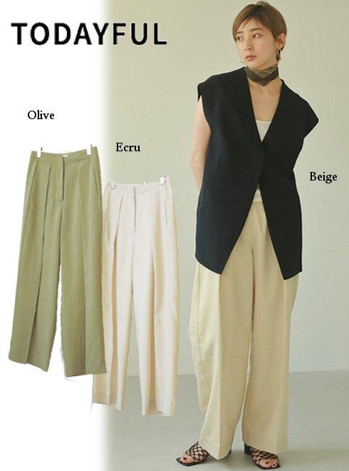 TODAYFUL (トゥデイフル)<br>Linen Tuck Trousers  21春夏.予約【12110723】パンツ 入荷予定 : 6月中旬〜