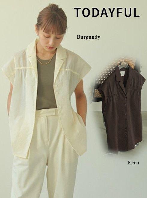 TODAYFUL (トゥデイフル)<br>Opencollar Sheer Shirts  21春夏.予約【12110422】シャツ・ブラウス 入荷予定 : 6月中旬〜