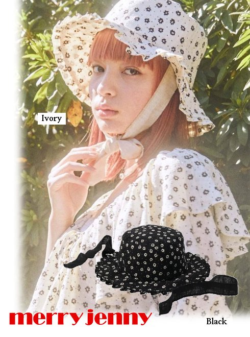 merry jenny (メリージェニー)<br>floral ribbon hat  21春夏.【282131004501】帽子