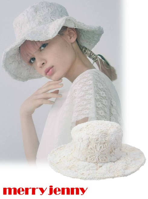 merry jenny (メリージェニー)<br>solid floral lace hat  21春夏.【282131004601】帽子