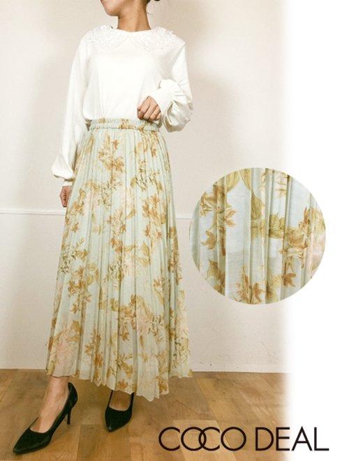 COCODEAL (ココディール)<br>ボタニカルフラワシアープリーツスカート  21春夏.【71217222】ロング・マキシスカート