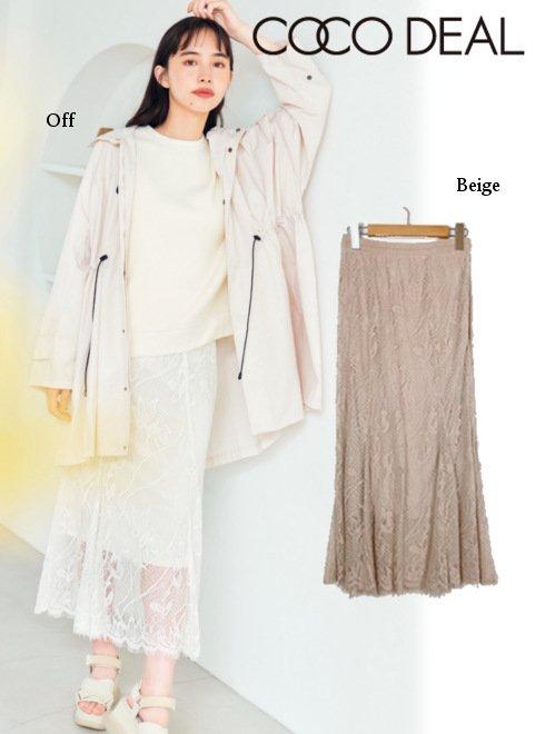 COCODEAL (ココディール)<br>メッシュレースマーメイドスカート  21春夏.【71217245】フレアスカート