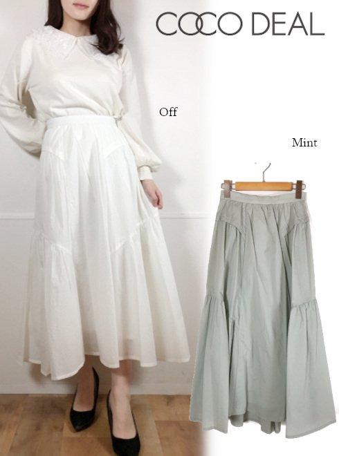 COCODEAL (ココディール)<br>シアーナイロンギャザーボリュームスカート  21春夏.【71217267】フレアスカート