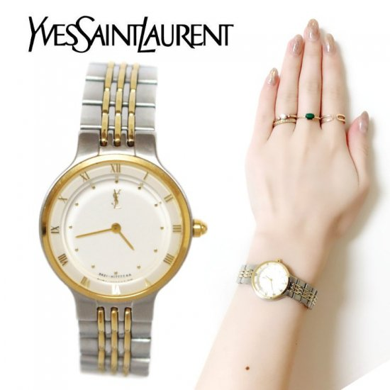 YSL イヴサンローラン ヴィンテージ<br>コンビカラーQZ腕時計【vintage by RiLish】ランクAB 財布