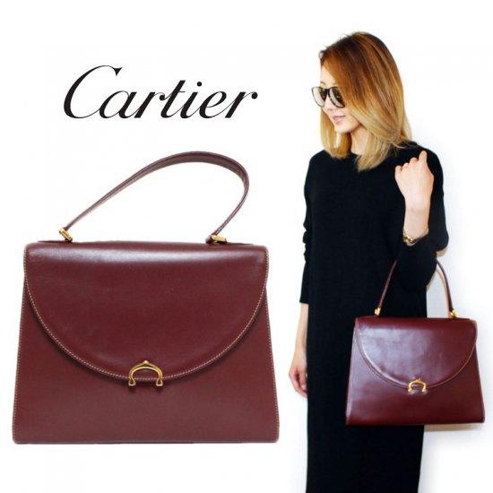 Cartier カルティエ ヴィンテージ<br>マストラインケリー型ハンドバッグ【vintage by RiLish】ランクBA  ハンド・ショルダーバッグ