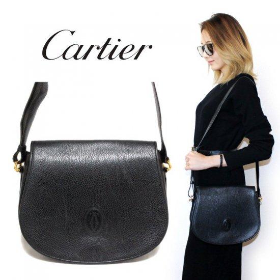 Cartier カルティエ ヴィンテージ<br>マストラインレザーショルダーバッグ ブラック【vintage by RiLish】ランクB  ハンド・ショルダーバッグ
