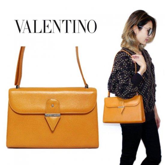 VALENTINO ヴァレンティノ ヴィンテージ<br>レザーショルダーバッグ【vintage by RiLish】ランクA  ハンド・ショルダーバッグ