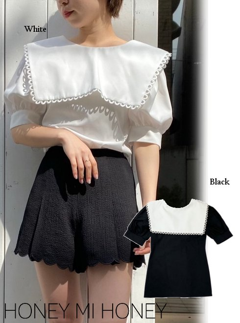 Honey mi Honey (ハニーミーハニー)<br>cotton sailor blouse  21春夏.【21S-TA-38】シャツ・ブラウス