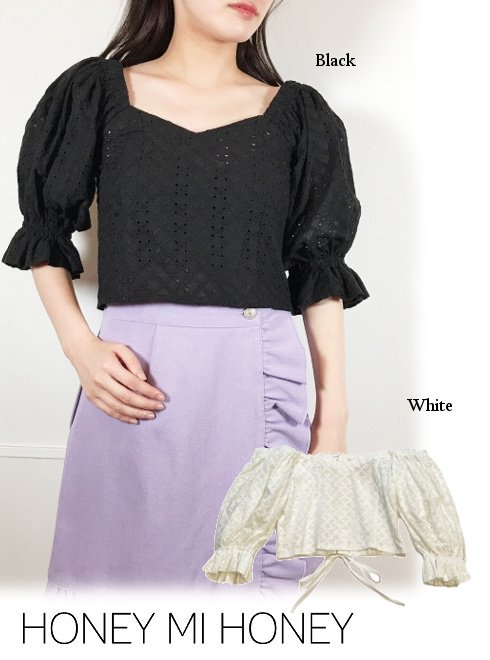 Honey mi Honey (ハニーミーハニー)<br>back laceup cotton blouse  21春夏.【21S-TA-59】フレアワンピース