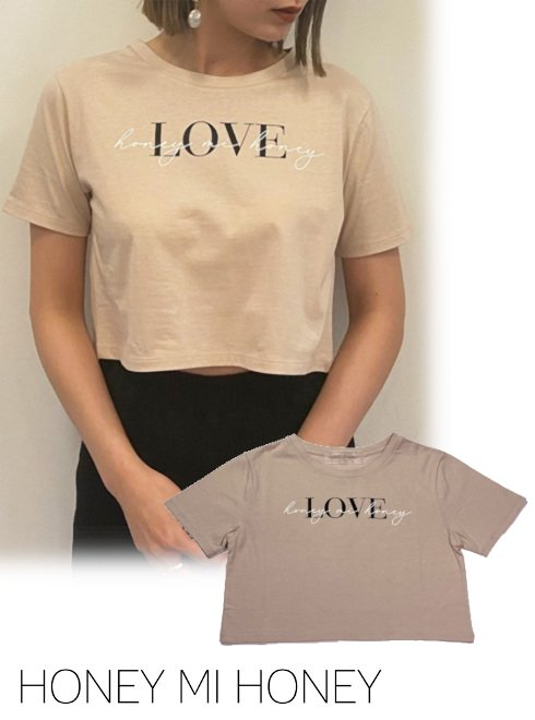 Honey mi Honey (ハニーミーハニー)<br>LOVE cropped T-shirt  21春夏.予約【21S-VG-10】Tシャツ 入荷予定 : 6月中旬〜