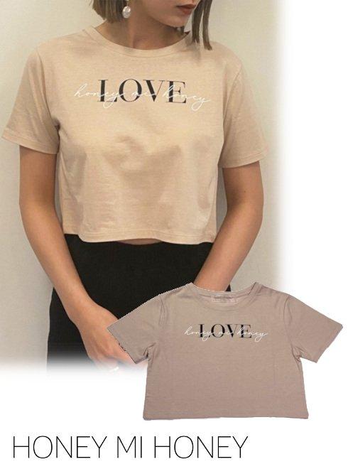 Honey mi Honey (ハニーミーハニー)<br>LOVE cropped T-shirt  21春夏.【21S-VG-10】Tシャツ