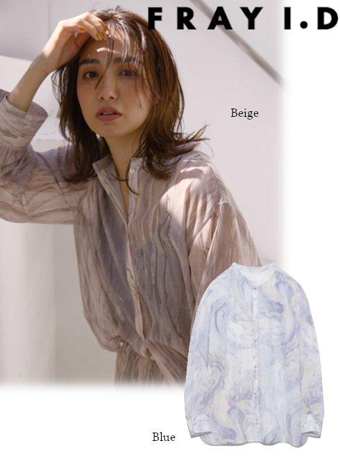 FRAY I.D (フレイアイディー)<br>柄透けシャツ  21春夏.予約【FWFB212007】シャツ・ブラウス 入荷予定 : 5月上旬〜