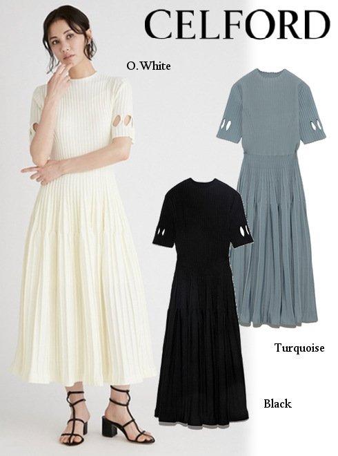 CELFORD (セルフォード)<br>ダイヤスリットニットドレス  21春夏.【CWNO212062】フレアワンピース  21gw