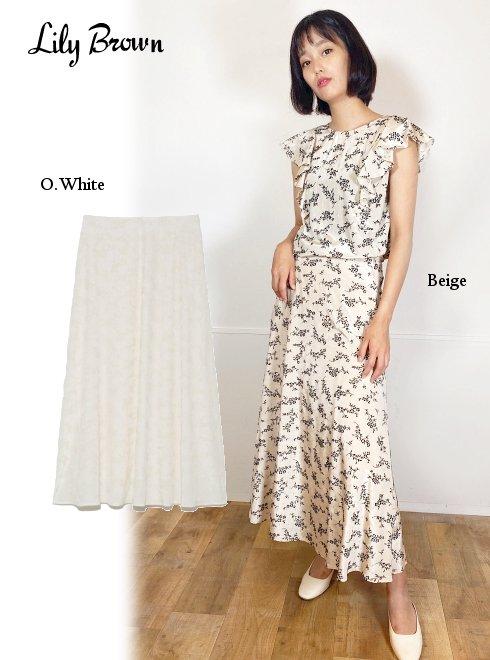 Lily Brown (リリーブラウン)<br>フラワーフロッキースカート  21春夏.【LWFS212102】タイトスカート  21gw
