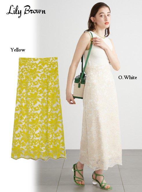 Lily Brown (リリーブラウン)<br>レースAラインスカート  21春夏.【LWFS212022】フレアスカート 21gw