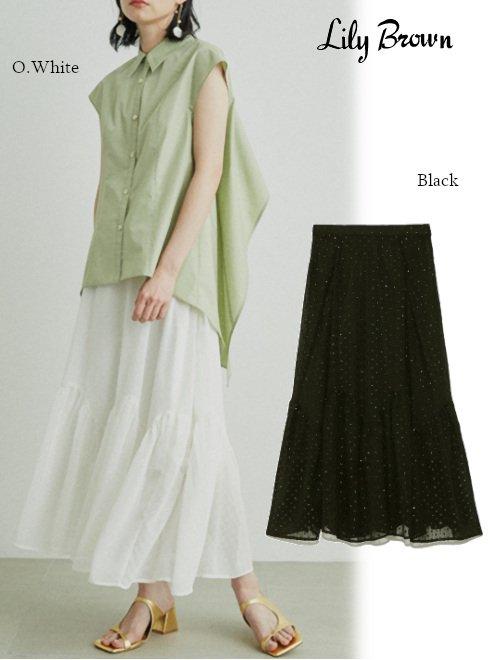 Lily Brown (リリーブラウン)<br>ラメシフォンミディスカート  21春夏.【LWFS212080】フレアスカート