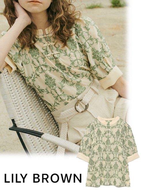 Lily Brown (リリーブラウン)<br>オリエンタル刺繍チャイナトップス  21春夏.予約2【LWFT212075】シャツ・ブラウス  入荷時期:8月上旬~