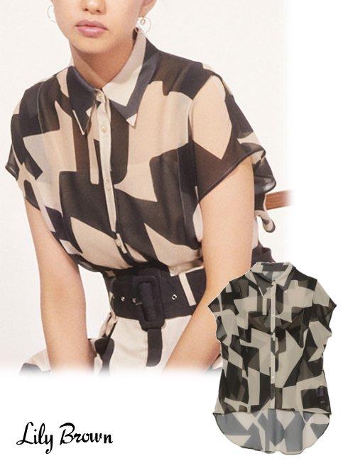 Lily Brown (リリーブラウン)<br>アブストラクトシアーシャツ  21春夏.予約【LWFT212033】シャツ・ブラウス 入荷予定 : 5月下旬〜
