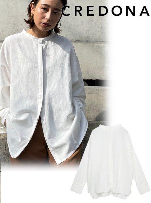 CREDONA (クレドナ)<br>リネン混ノーカラーシャツ  21春夏.【1421210600】リング