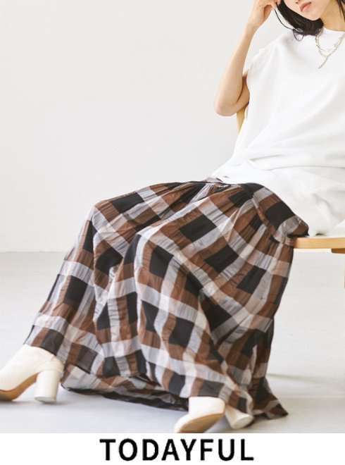 TODAYFUL (トゥデイフル)<br>Chambray Check Skirt   2021秋冬予約【12120801】ロング・マキシスカート 入荷予定 : 8月中旬〜