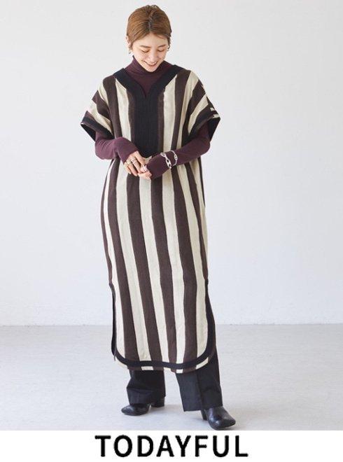 TODAYFUL (トゥデイフル)<br>Stripe Caftan Dress  2021秋冬【12120313】マキシワンピース
