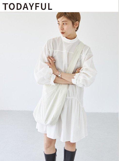 TODAYFUL (トゥデイフル)<br>Standcollar Gather Dress  2021秋冬【12120310】マキシワンピース