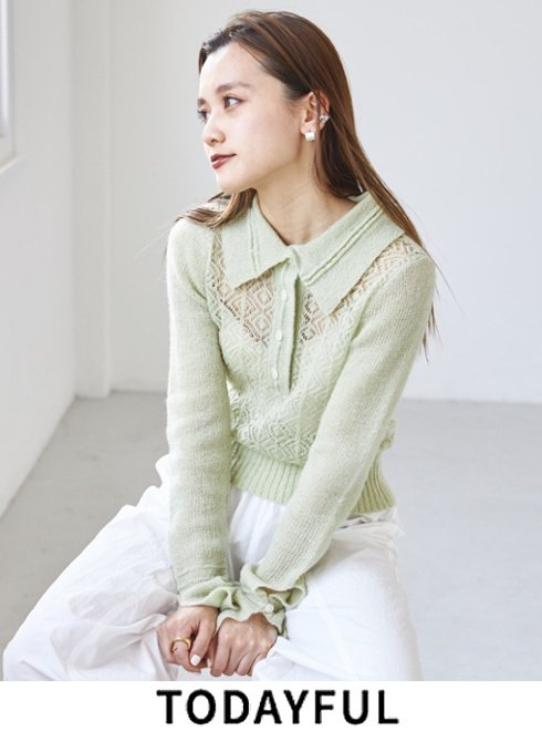 TODAYFUL (トゥデイフル)<br>Patchwork Lace Knit  21秋冬予約【12120524】ニットトップス 入荷予定 : 8月中旬〜 秋受注会  ★