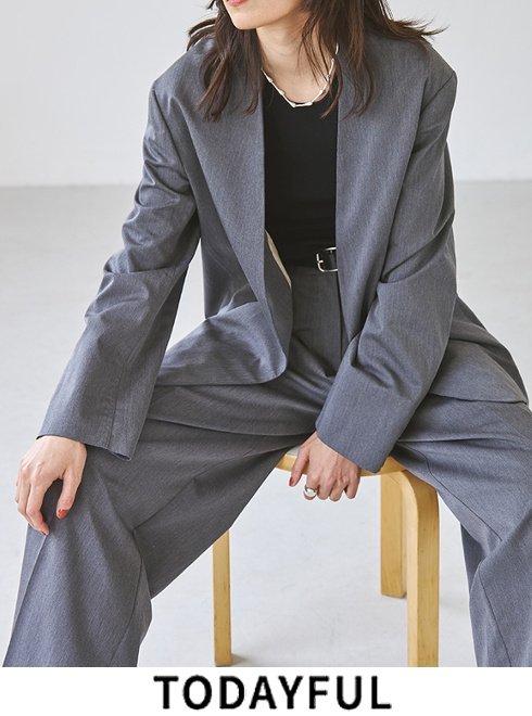 TODAYFUL (トゥデイフル)<br>Heather Collarless Jacket  21秋冬【12120101】ジャケット