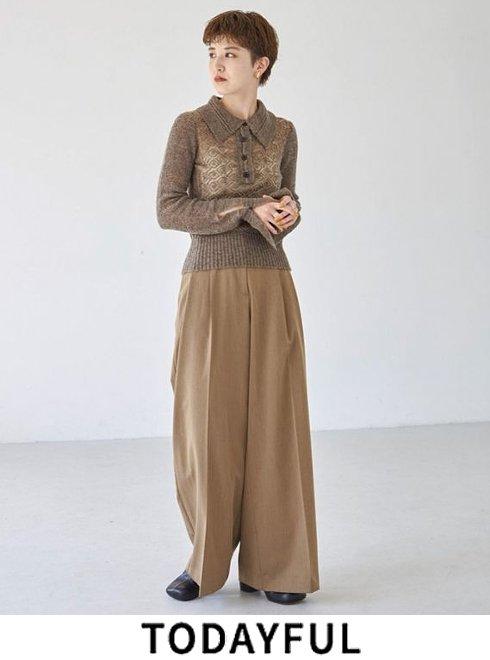 TODAYFUL (トゥデイフル)<br>Heather Wide Trousers  21秋冬予約【12120703】パンツ 入荷予定 : 8月中旬〜   ★