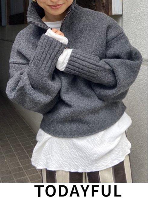 TODAYFUL (トゥデイフル)<br>Wool Zip Knit  21秋冬予約【12120501】ニットトップス 入荷予定 : 9月中旬〜   ★
