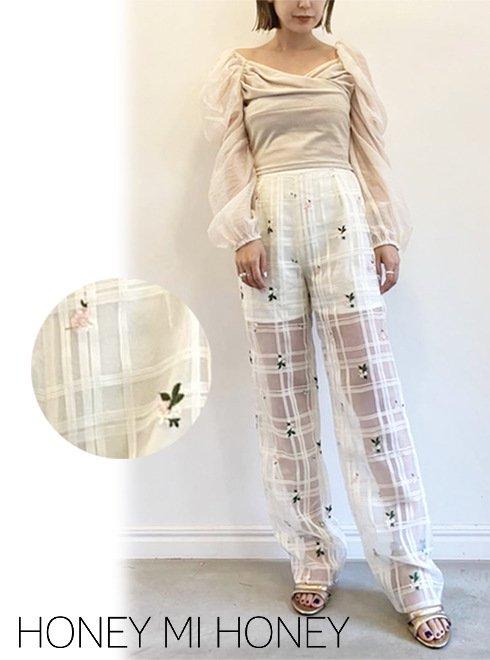 Honey mi Honey (ハニーミーハニー)<br>flower check pants  21秋冬【21A-TA-10】パンツ