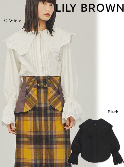 Lily Brown (リリーブラウン)<br>ビックカラー刺繍ブラウス  21秋冬【LWFT214062】シャツ・ブラウス