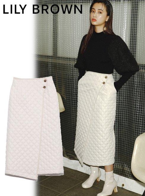 Lily Brown (リリーブラウン)<br>キルティングスカート  21秋冬予約【LWFS214129】タイトスカート 入荷予定 : 9月下旬〜