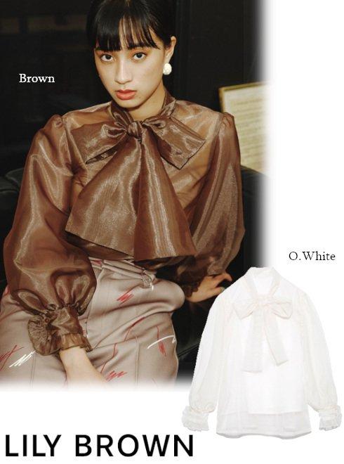 Lily Brown (リリーブラウン)<br>オーガンザボリュームボウブラウス  21秋冬【LWFB214130】シャツ・ブラウス haruna-1
