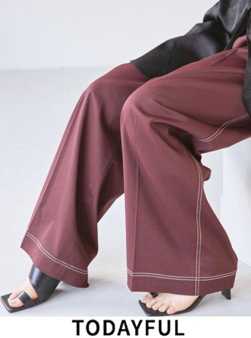 TODAYFUL (トゥデイフル)<br>'Satin Stitch Trousers'  21秋冬.予約【12120724】パンツ 入荷予定 : 10月中旬〜 11月中旬〜