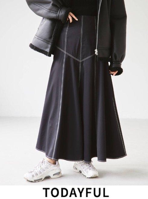 TODAYFUL (トゥデイフル)<br>Satin Stitch Skirt  21秋冬.予約【12120802】ロング・マキシスカート 入荷予定 : 10月中旬〜