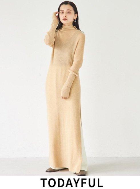TODAYFUL (トゥデイフル)<br>Silt Knit Dress  21秋冬.予約【12120315】マキシワンピース 入荷予定 : 10月中旬〜