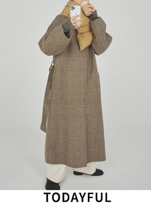 TODAYFUL (トゥデイフル)<br>Soutiencollar Check Coat  21秋冬.予約【12120005】ウールコート 入荷予定 : 10月中旬〜