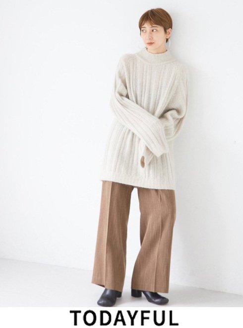 TODAYFUL (トゥデイフル)<br>Herringbone Wide Trousers  21秋冬.予約【12120722】パンツ 入荷予定 : 11月中旬〜