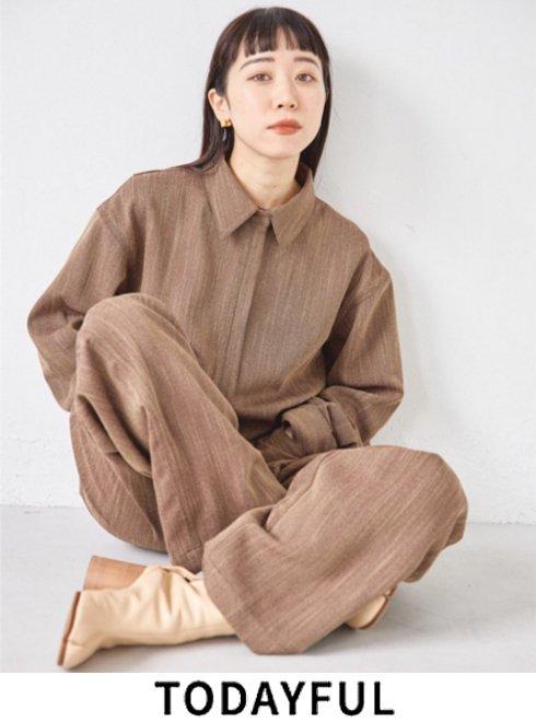 TODAYFUL (トゥデイフル)<br>Herringbone Shirts Combinaison  21秋冬.予約【12120320】オールインワン・コンビネゾン 入荷予定 : 11月中旬〜
