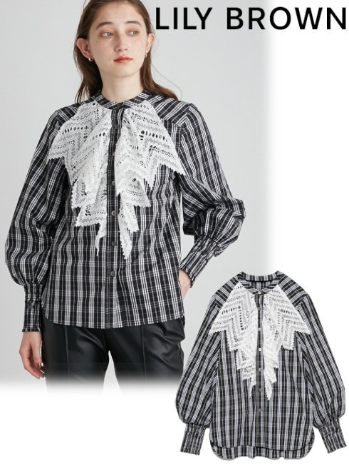 Lily Brown (リリーブラウン)<br>ビブレースシャツ  21秋冬【LWFT214135】シャツ・ブラウス