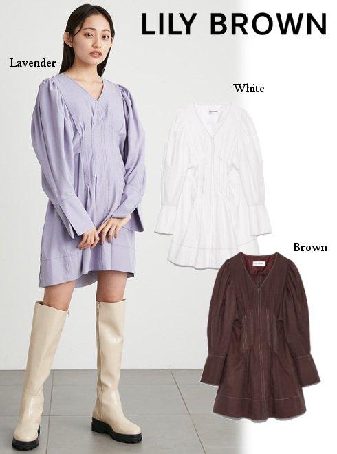Lily Brown (リリーブラウン)<br>ピーチ起毛タックデザインミニワンピース  21秋冬.【LWFO215004】フレアワンピース