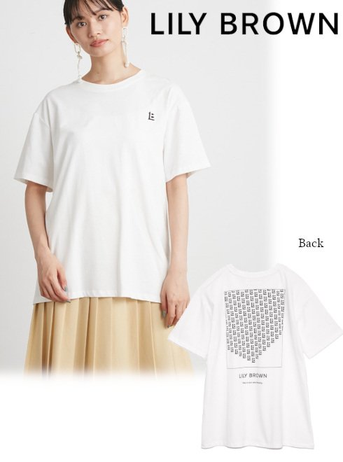 Lily Brown (リリーブラウン)<br>LILYBROWNモノグラムTシャツ  21秋冬.【LWCT219038】Tシャツ
