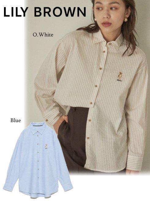 Lily Brown (リリーブラウン)<br>LiryBear刺繍シャツ  21秋冬予約【LWFB214137】シャツ・ブラウス 入荷予定 : 12月上旬〜