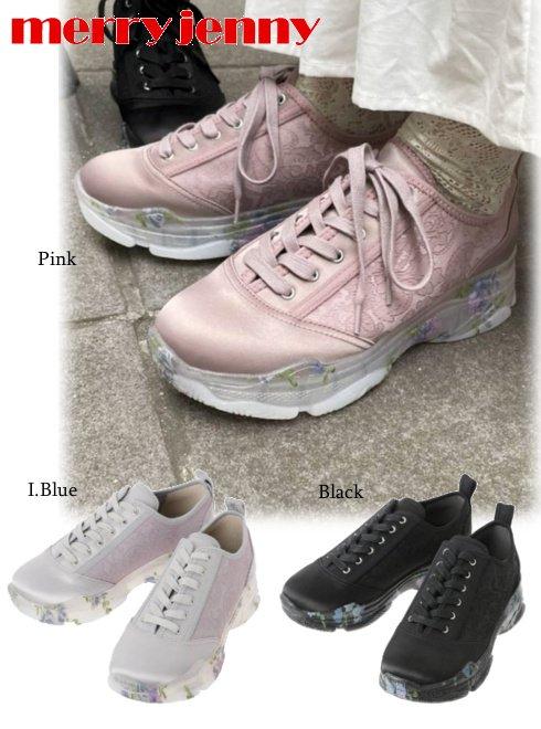 merry jenny (メリージェニー)<br>velor floral sneaker  21秋冬.【282151803501】スニーカー