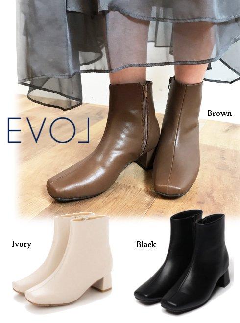 EVOL  イーボル <br>スクエアショートブーツ  21秋冬.【IN9080】ブーツ