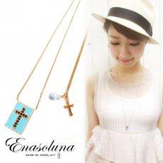 Enasoluna(エナソルーナ) <br>ベビーフェイスネックレス【ブルー】【NK-685】 ネックレス