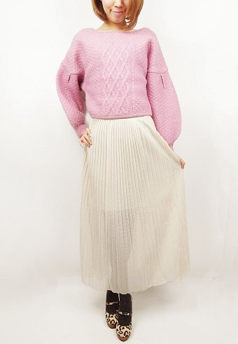 Lily Brown(リリーブラウン)<br>メッシュプリーツロングスカート 【LFSD12744】* ロング・マキシスカート sale